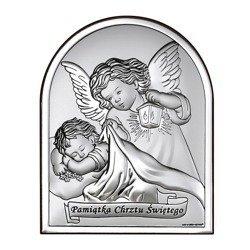Obrazek srebrny Aniołek z latarenką z podpisem 6470S