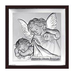 Obrazek srebrny Aniołek z latarenką z podpisem w ramce 6430WM