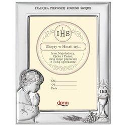 Ramka Srebrna Pamiątka I Komunii prostokąt z podpisem DS06O