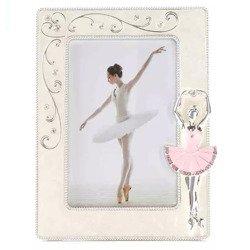 Ramka dziecięca z masy perłowej - beżowa, różowa baletnica 473-3318