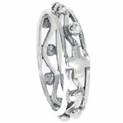 Różaniec srebrny obrączka na palec ażurowa, rozmiary 14-28  Srebro pr. 925 RPM05