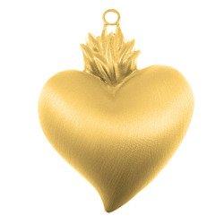 Wotum srebrne Serce gorejące satynowane pozłacane srebro 925 WOTOBS