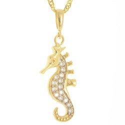 Złota przywieszka pr. 585 konik morski  cyrkonie ZP048
