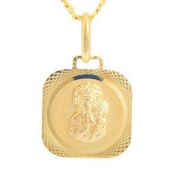 Złoty medalik pr. 585 M.B. Częstochowska kwadrat ramka ZM027