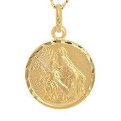 Złoty medalik pr. 585 M.B. Szkaplerzna Szkaplerz mały okrągły  ZM013