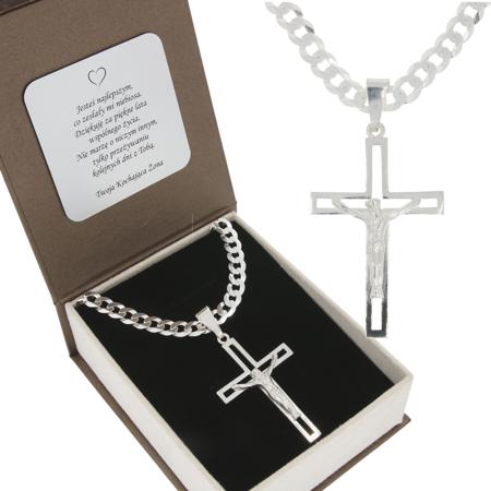 Duży Zestaw srebrny łańcuch szer. 5,7 mm z krzyżem + GRAWER MO109/GR150/P3