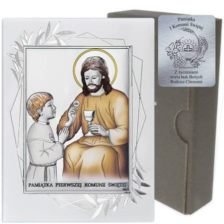 Obrazek Srebrny Pamiątka I Komunii dla chłopca prostokąt z podpisem DS45FOCO