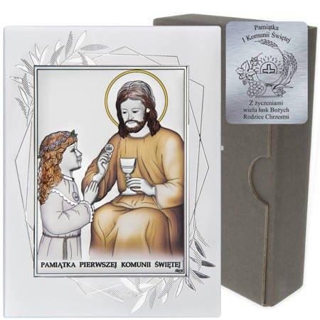 Obrazek Srebrny Pamiątka I Komunii dla dziewczynki prostokąt z podpisem DS45FOCA