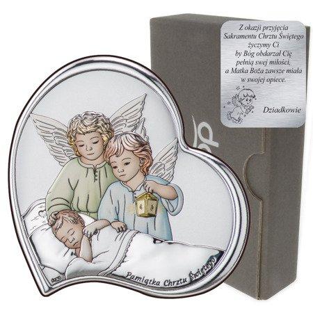 Obrazek srebrny Aniołki z latarenką nad dzieckiem DS23C