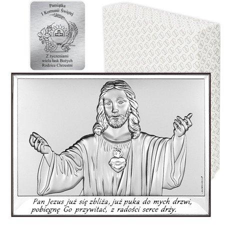 Obrazek srebrny Serce Jezusa Pamiątka Komunii 6621