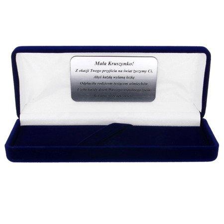 Pudełko flokowe podłużne niebieskie z grawerem P9/FLOKNIEB