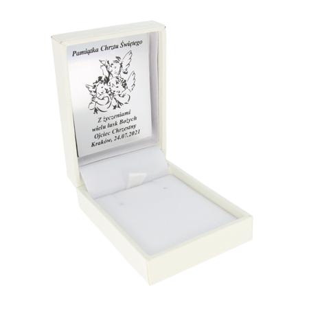 Pudełko skórzane białe na kolczyki PZH-3/A1/GS
