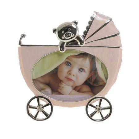 Ramka dziecięca z masy perłowej - różowa, wózek 473-3240