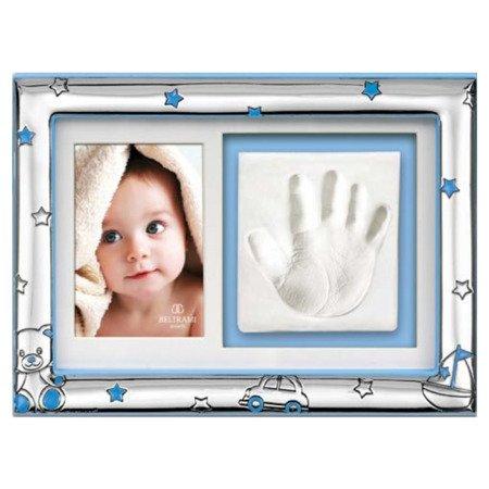 Ramka srebrna z miejscem na odcisk dłoni dziecka 3583C