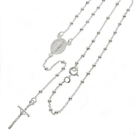 Różaniec srebrny - 5 dziesiątek 6,4g z zapinką, 2,6mm srebro pr. 925 RC035