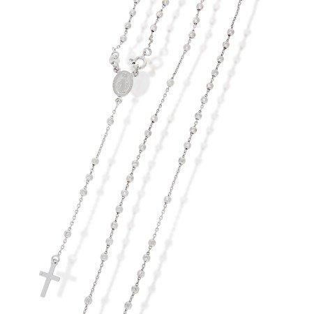 Różaniec srebrny - 5 dziesiątek z zapięciem rodowany 3,0mm, srebro pr. 925 RC011