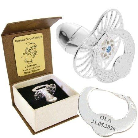 Smoczek srebrny  z zegarem NIEBIESKA CYRKONIA pr 925 SM17/BA-3 MIEJSCE NA PIERWSZY ZĄBEK