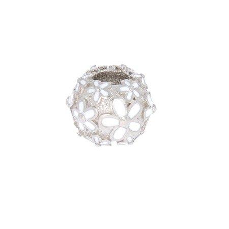 Srebrna przywieszka pr 925 Charms kulka białe kwiaty PAN064