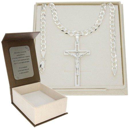 Zestaw srebrny łańcuch szer. 5,2 mm z krzyżykiem + GRAWER MO108/GZP1156L/P3