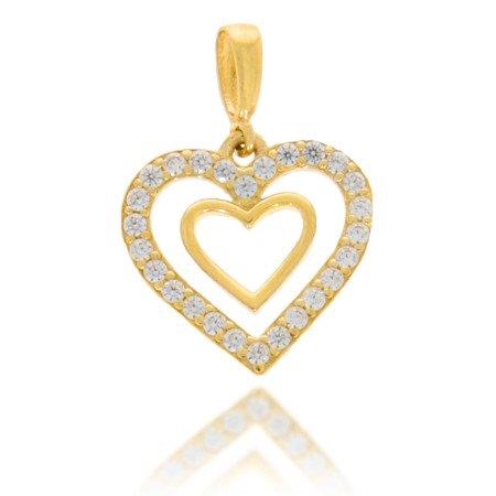 Złota przywieszka pr. 585  Podwójne Serce zewnętrzne z cyrkoniami  ZP004
