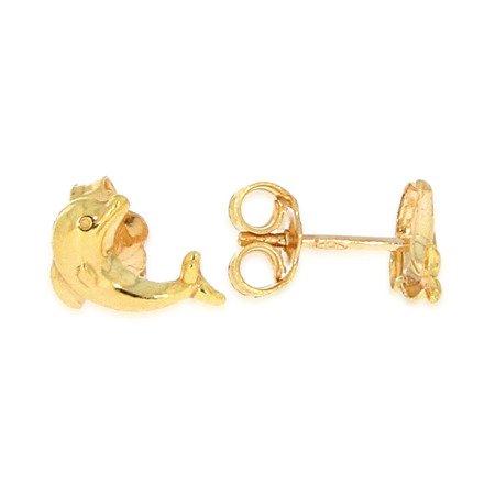 Złote kolczyki pr. 585 Delfinek gładki sztyft ZA008