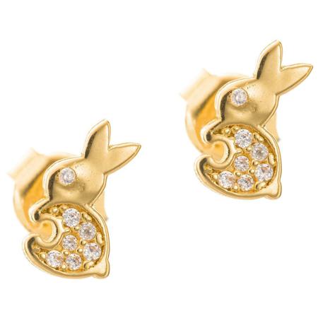 Złote kolczyki pr. 585 Króliczek cyrkonie sztyft ZA042