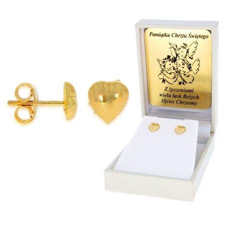 Złote kolczyki pr. 585 serduszka gładkie sztyft ZA009/PDH-3/NA/A1/G