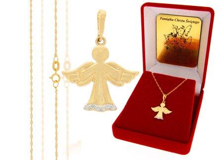 Złoty komplet pr. 585 anioł ZP030/ZL004/P7/FLOKCZERW/GZ