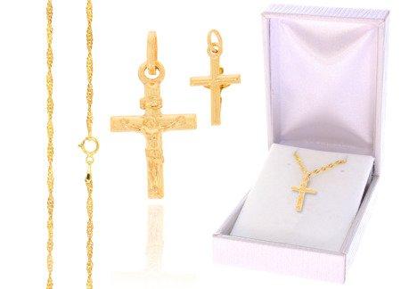 Złoty komplet pr. 585 krzyżyk łańcuszek ZK007/ZL004/PDH-3/A1/GZ