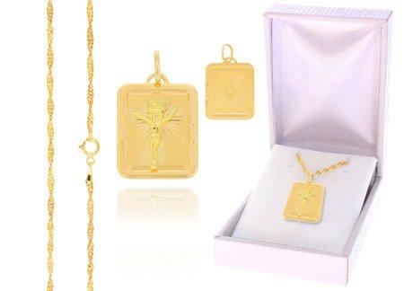 Złoty komplet pr. 585 krzyżyk łańcuszek ZK009/ZL004/PDH-3/A1/GZ
