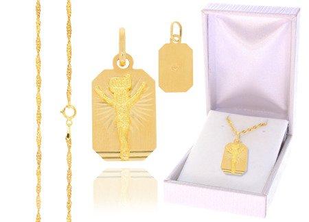 Złoty komplet pr. 585 krzyżyk łańcuszek ZK010/ZL004/PDH-3/A1/GZ