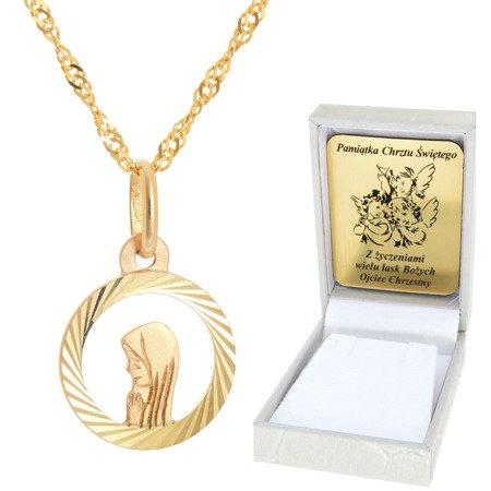 Złoty łańcuszek z medalikiem koło ażur Matka Boska pr. 585