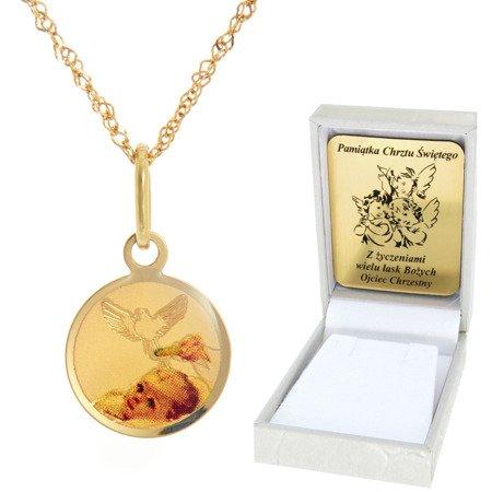 Złoty łańcuszek z medalikiem koło pamiątka Chrztu Świętego pr. 585