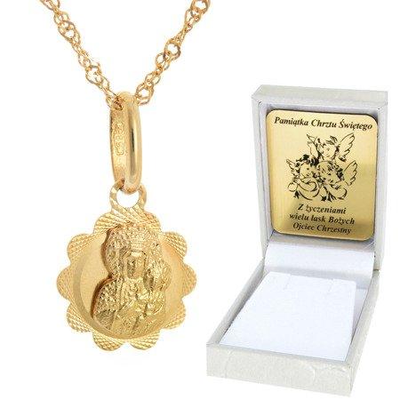 Złoty łańcuszek z medalikiem kwiatek Matka Boska pr. 585