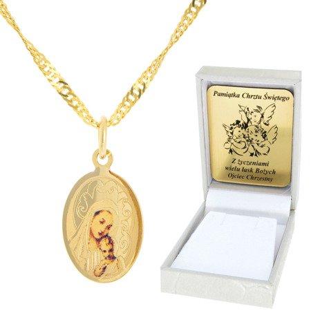 Złoty łańcuszek z medalikiem owal Matka Boska pr. 585