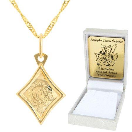 Złoty łańcuszek z medalikiem romb Matka Boska pr. 585